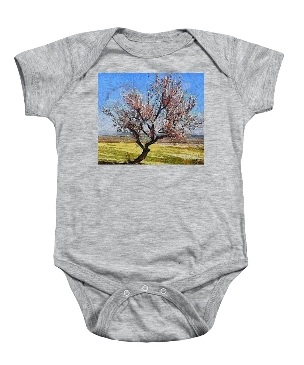 Almond Baby Onesie featuring the painting Lone Almond Tree In Bloom by Dragica Micki Fortuna
