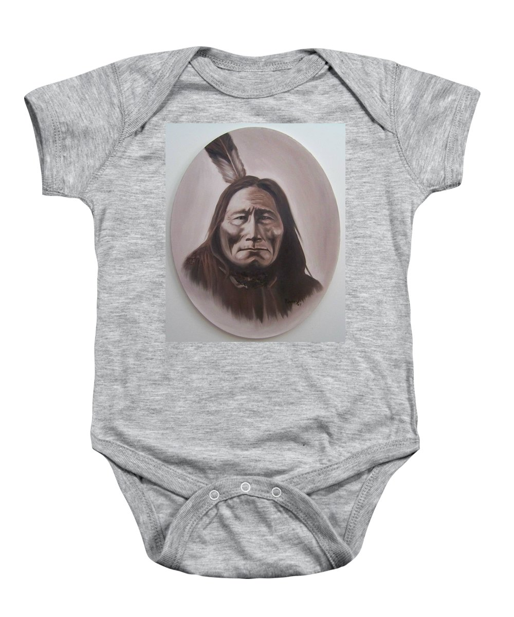 Michael Baby Onesie featuring the painting Long Bear by Michael TMAD Finney