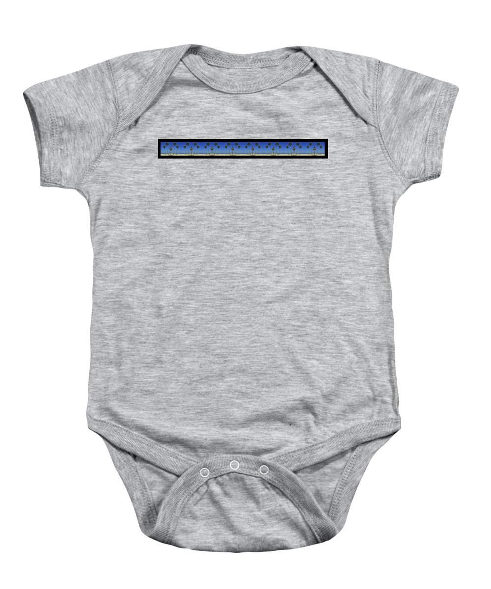 Bruce Baby Onesie featuring the painting Long Mural Of The Beach by Bruce Nutting