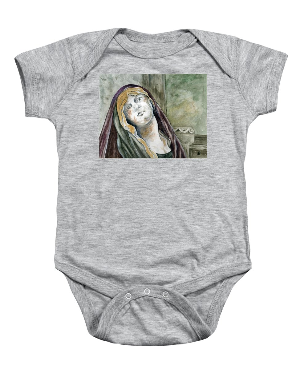 Portrait Baby Onesie featuring the painting Longing by Brenda Owen