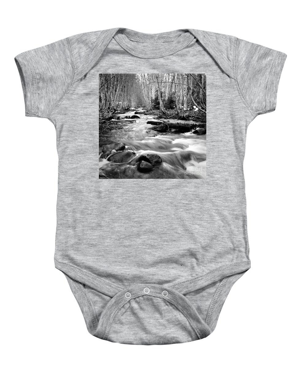 Landscape Baby Onesie featuring the photograph Longmire Stream 5bw by Earl Johnson
