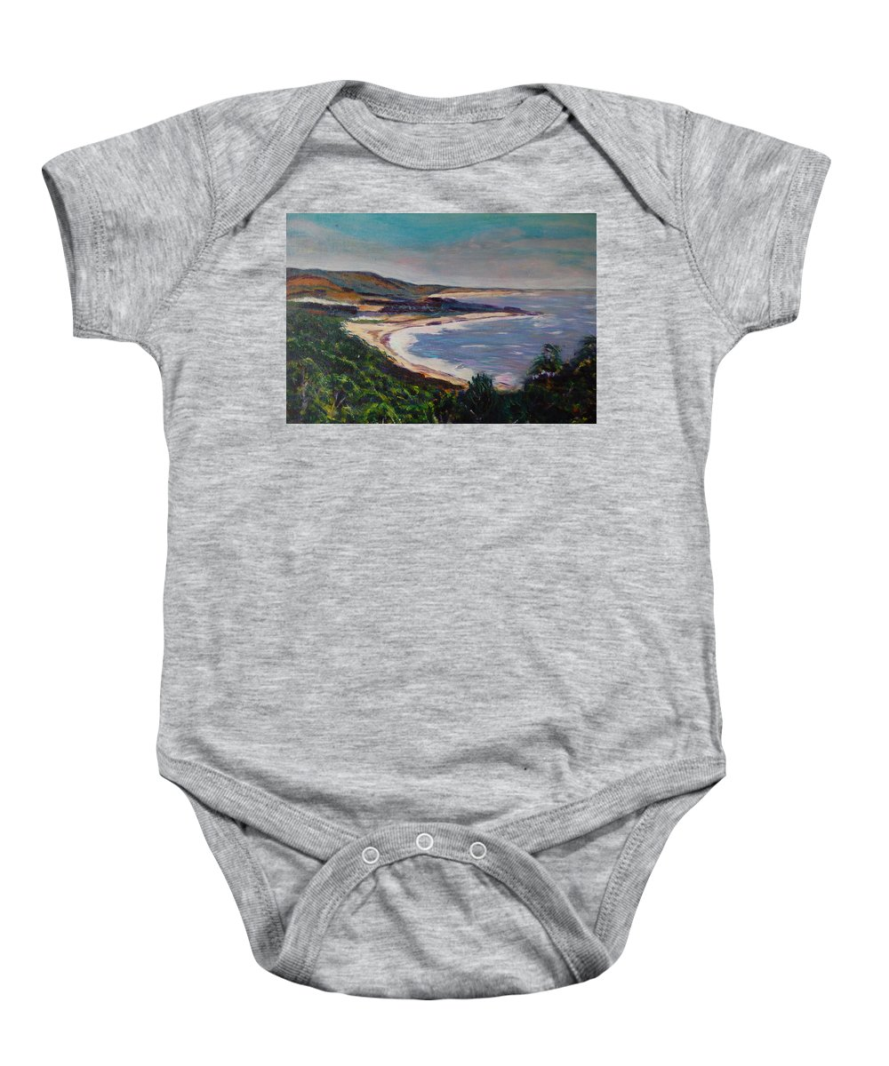 Half Moon Bay Baby Onesie featuring the painting Looking Down On Half Moon Bay by Carolyn Donnell