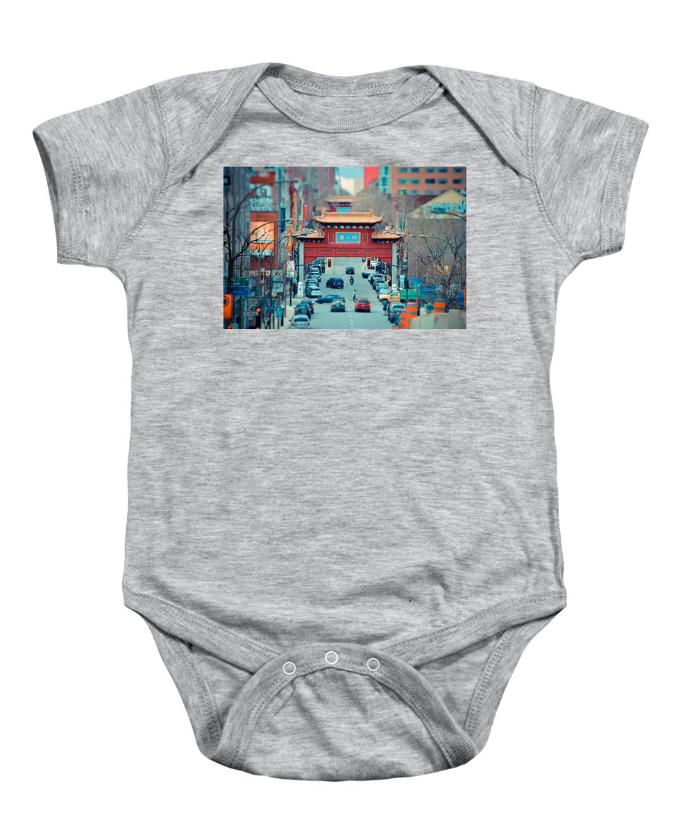 Montreal Baby Onesie featuring the photograph Looking For Chinatown by Les Lorek