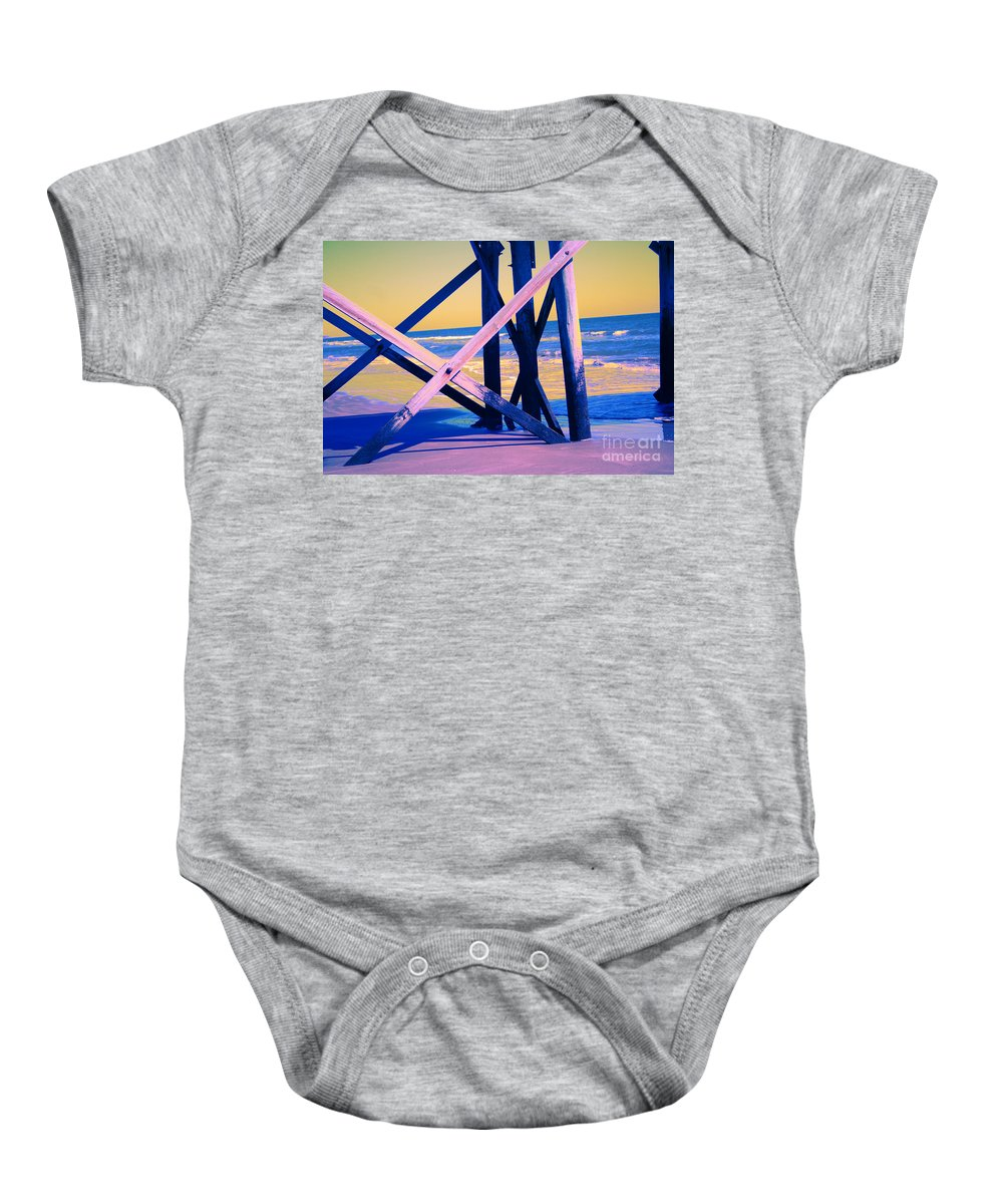 Baby Onesie featuring the photograph looking On - Neon by Jamie Lynn