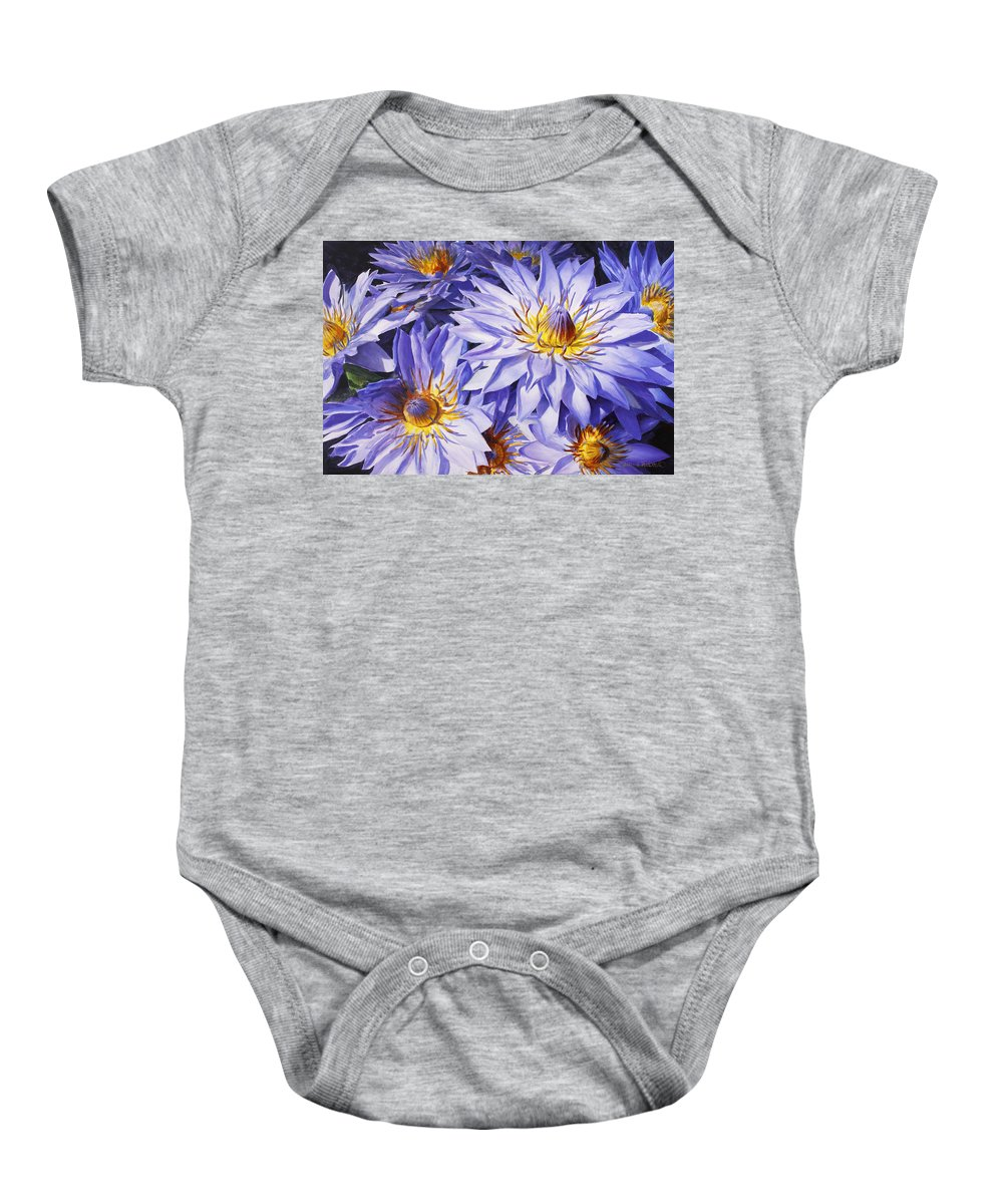 Lotus Baby Onesie featuring the painting Lotus Light - Hawaiian Tropical Floral by Karen Whitworth