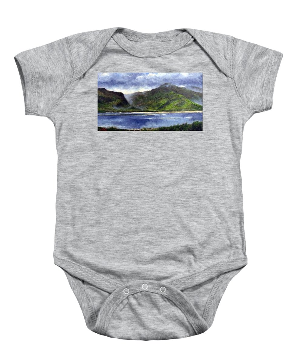 Irish Baby Onesie featuring the painting Loughros Bay Ireland by Jim Gola