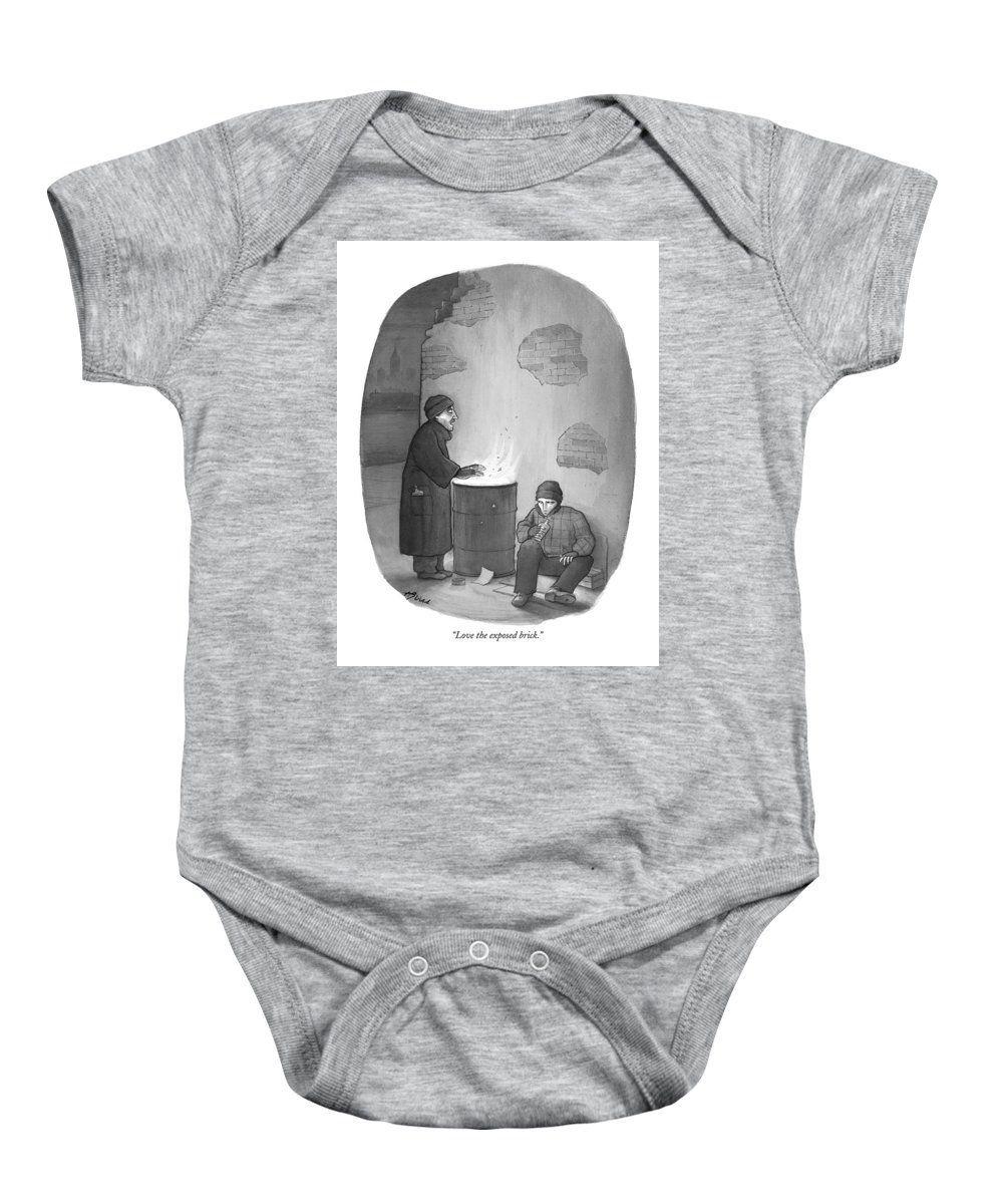 Bricks Baby Onesie featuring the drawing Love The Exposed Brick by Harry Bliss