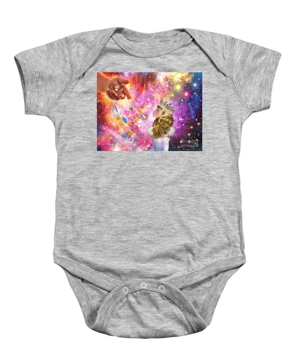 Jesus Love Heaven Bride Of Christ Child Like Heart Baby Onesie featuring the digital art Love Them To Life by Dolores Develde