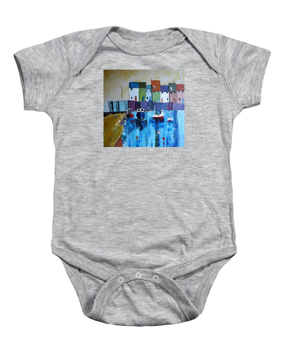 Boats Baby Onesie featuring the painting Low Tide by Trudy Kepke