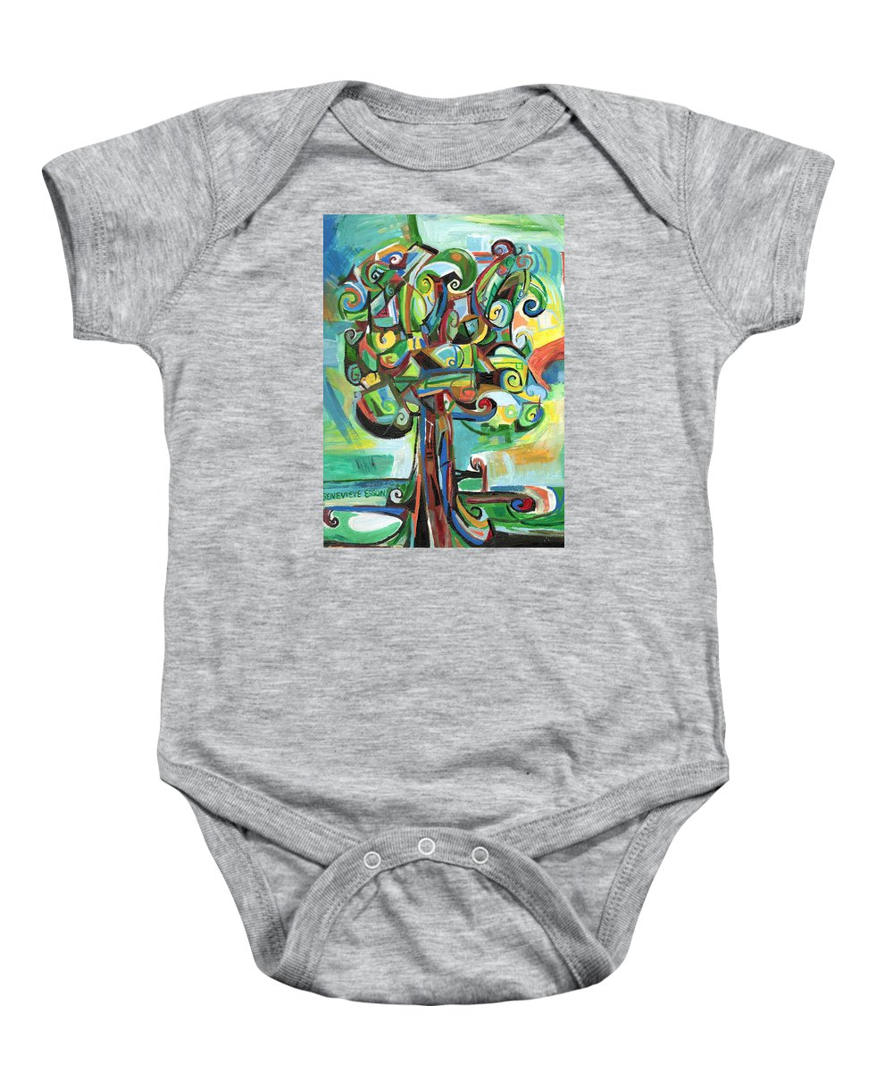Tree Baby Onesie featuring the painting Lyrical Tree by Genevieve Esson
