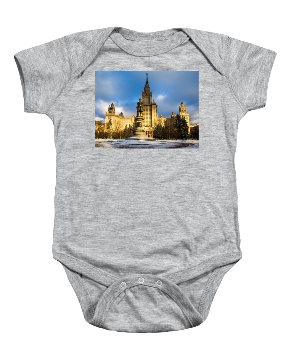 Architecture Baby Onesie featuring the photograph Main Building Of Moscow State University On Sparrow Hills - 2 - Featured 3 by Alexander Senin