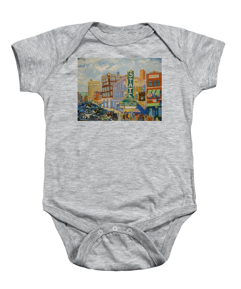 Sioux Falls Baby Onesie featuring the painting Main Street by Rodger Ellingson