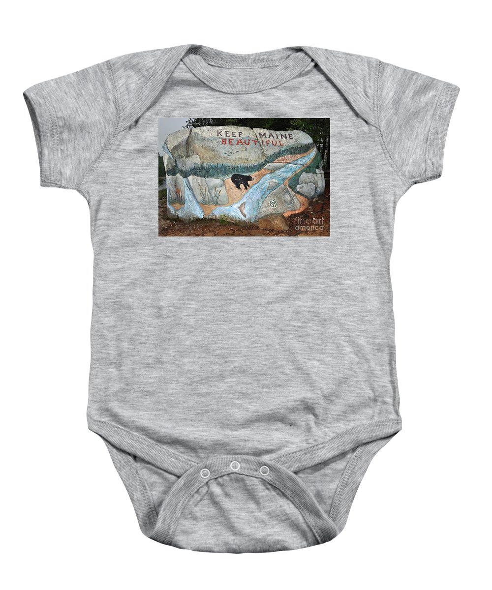 Baxter State Park Baby Onesie featuring the photograph Maine Rock Painting by Glenn Gordon