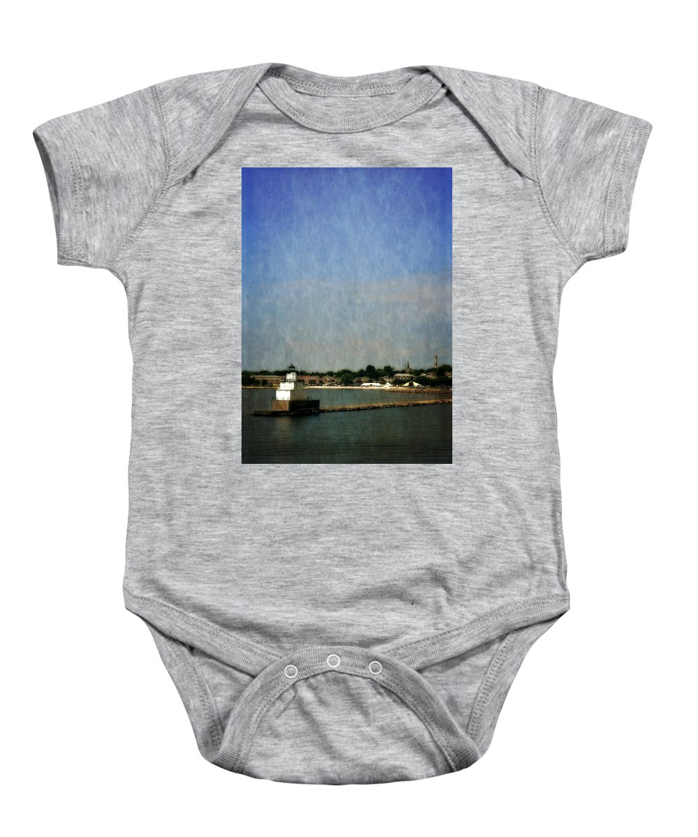 Lighthouse Baby Onesie featuring the photograph Manitowoc Breakwater Light 2.0 by Michelle Calkins