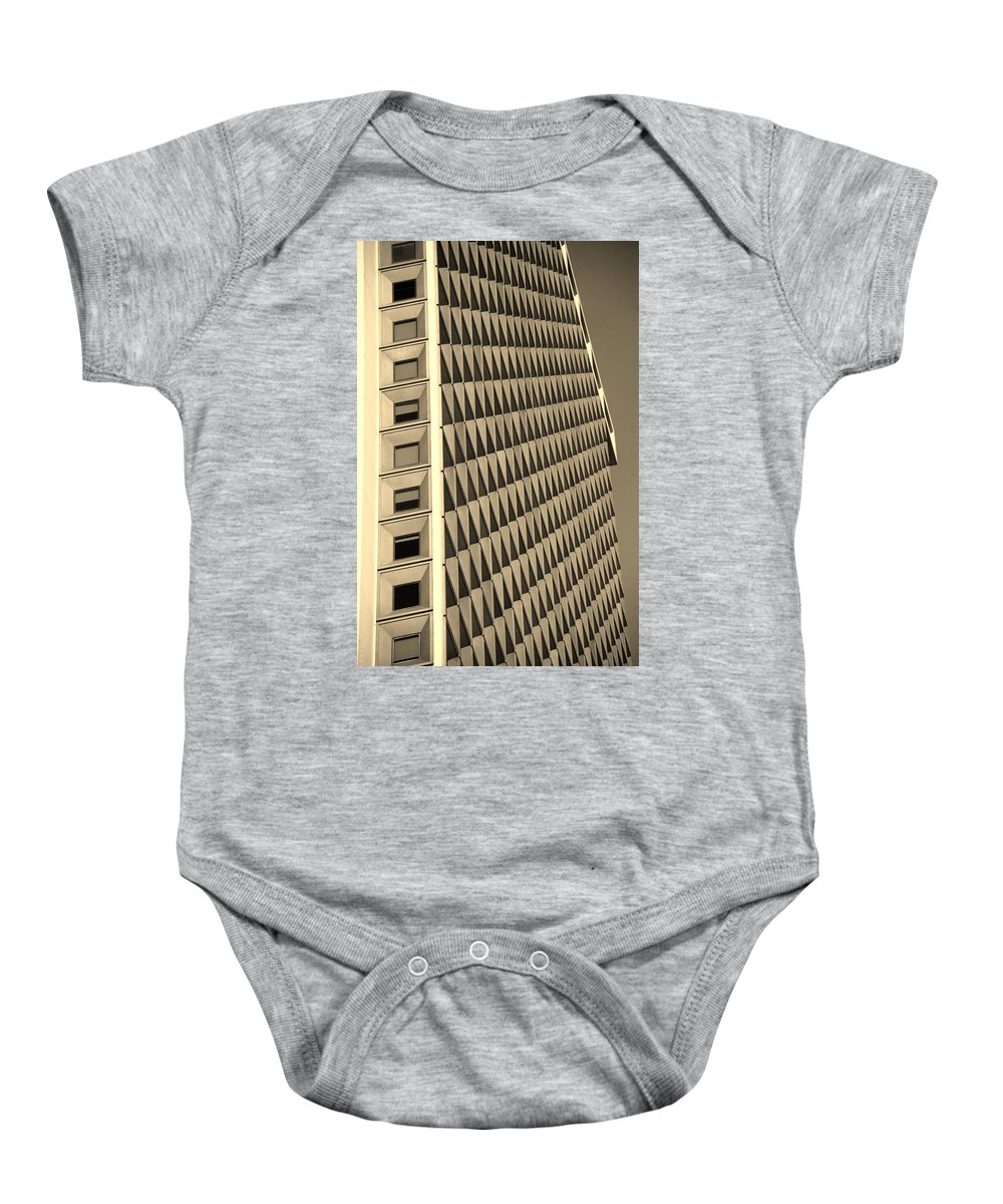 Scenic Baby Onesie featuring the photograph Many Windows In Sepia by Rob Hans