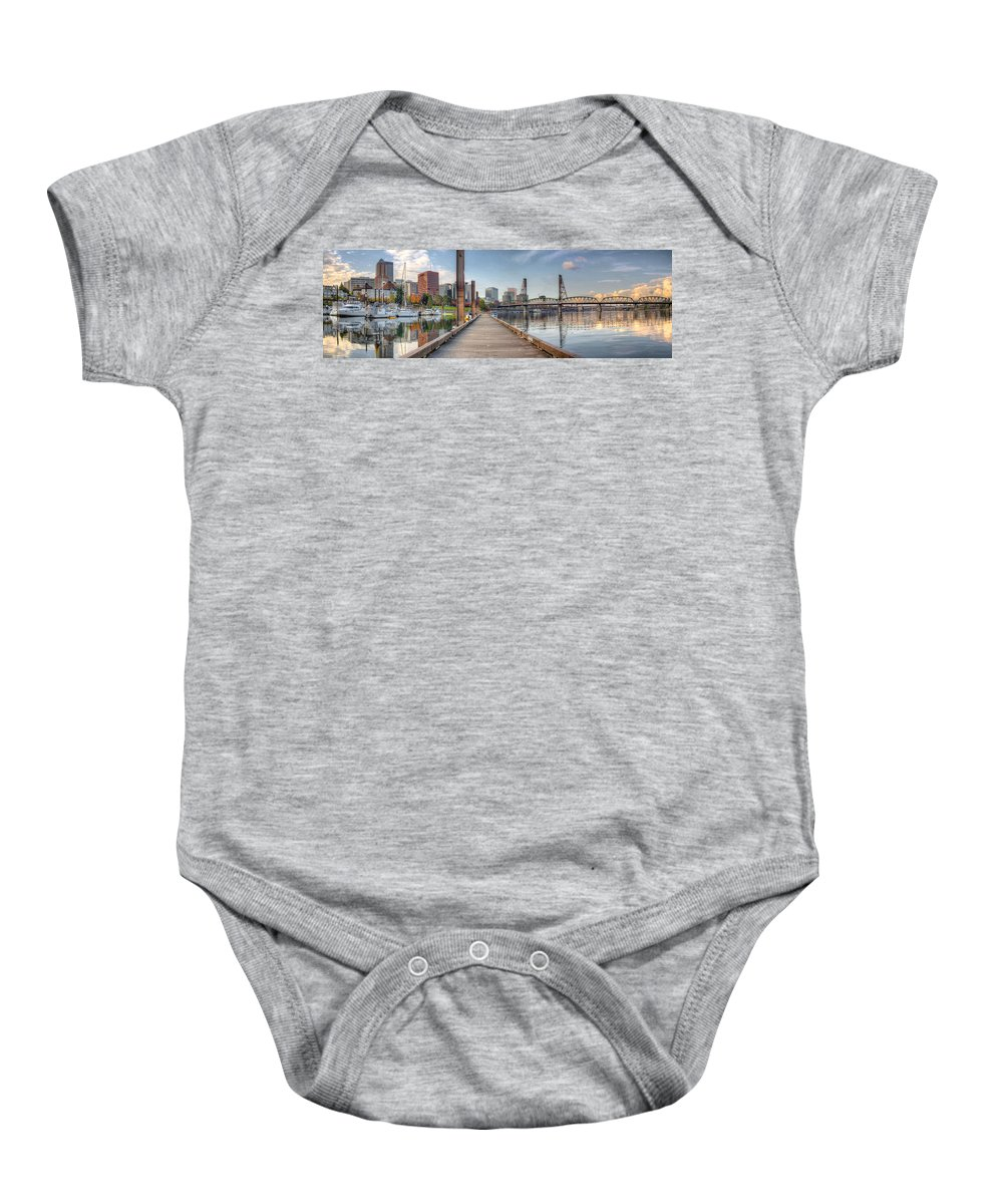 Marina Baby Onesie featuring the photograph Marina Along Willamette River In Portland Oregon Downtown by Jit Lim