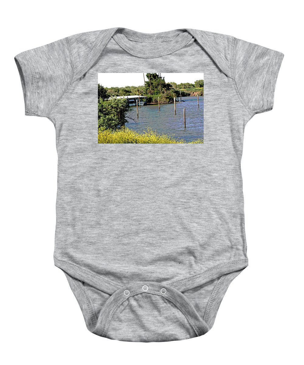 Sacramento River Delta Marinas Baby Onesie featuring the photograph Marina At Miners Slough by Joseph Coulombe