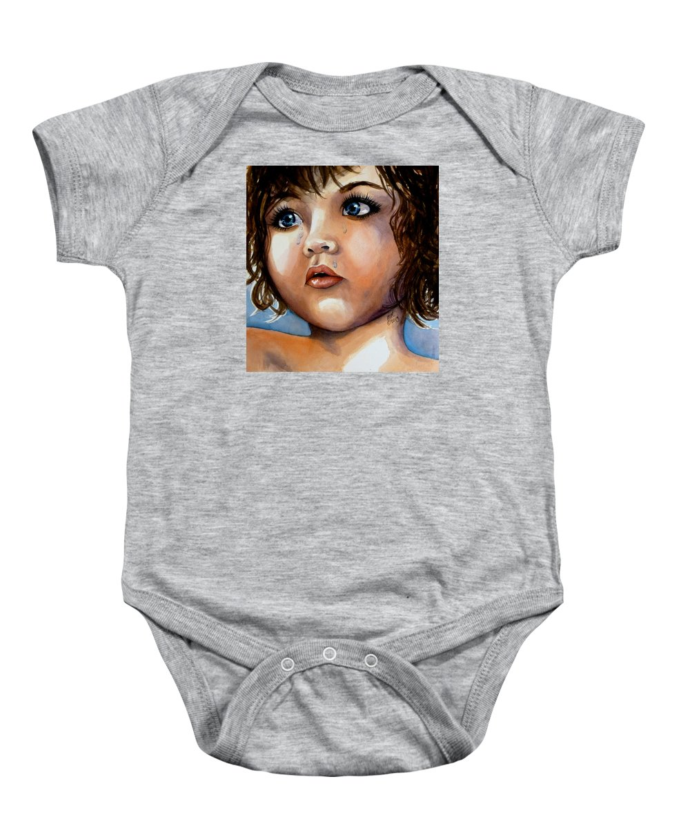 Silver Tears Baby Onesie featuring the painting Crying Blue Eyes by Michal Madison