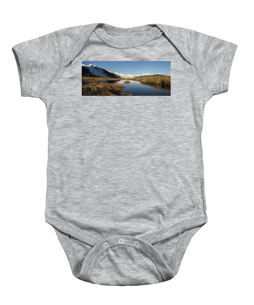 College Fjord Baby Onesie featuring the photograph Marsh by Ted Raynor