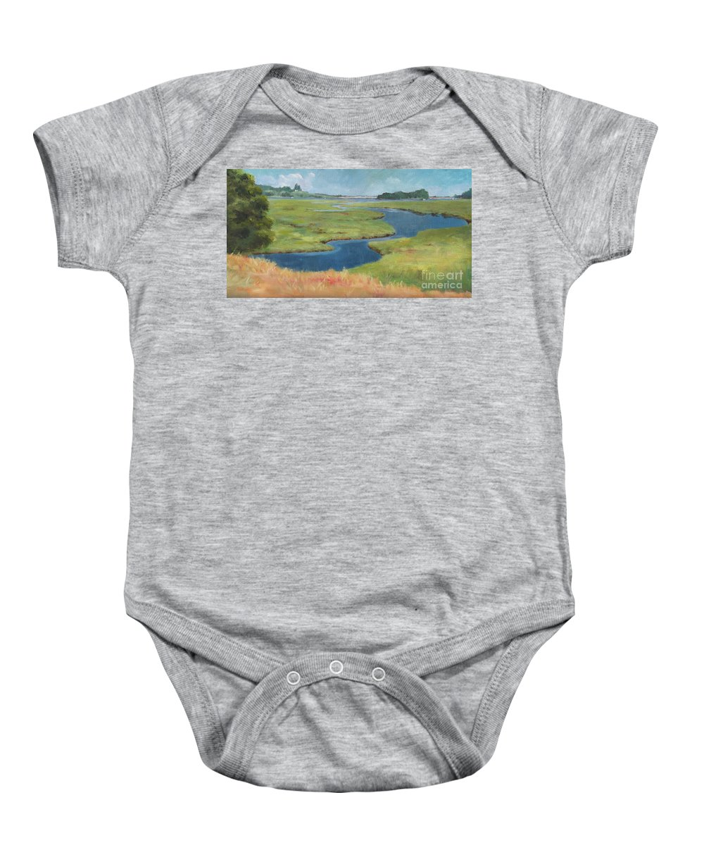 Claire Gagnon Baby Onesie featuring the painting Marshes At High Tide by Claire Gagnon