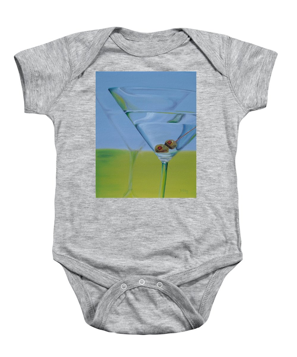 Martini Baby Onesie featuring the painting Martini Time by Donna Tuten