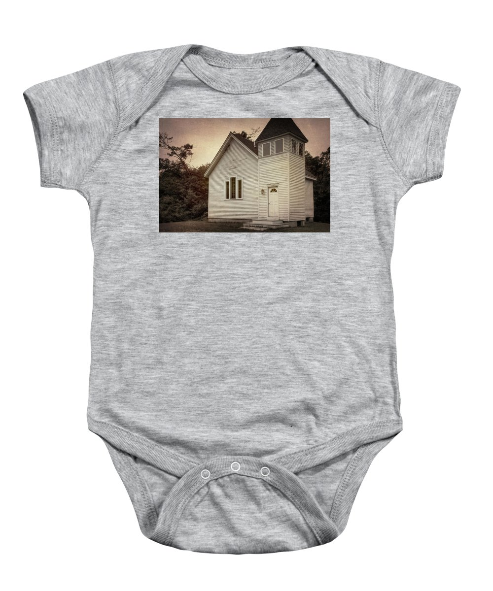 Architectural Baby Onesie featuring the photograph Maybe A Church by Joan Carroll