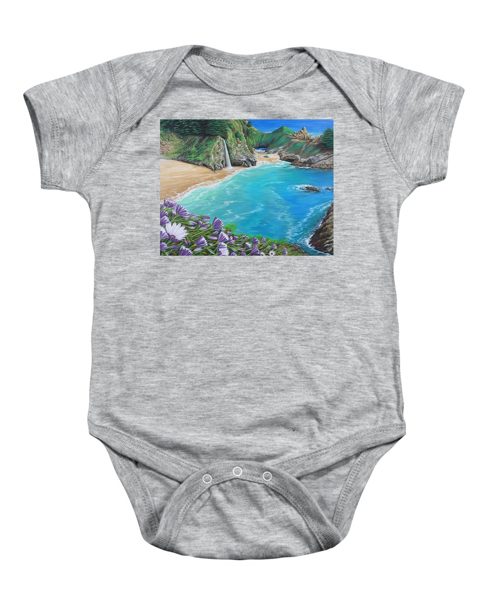 Beach Baby Onesie featuring the painting Mcway Falls by Jane Girardot