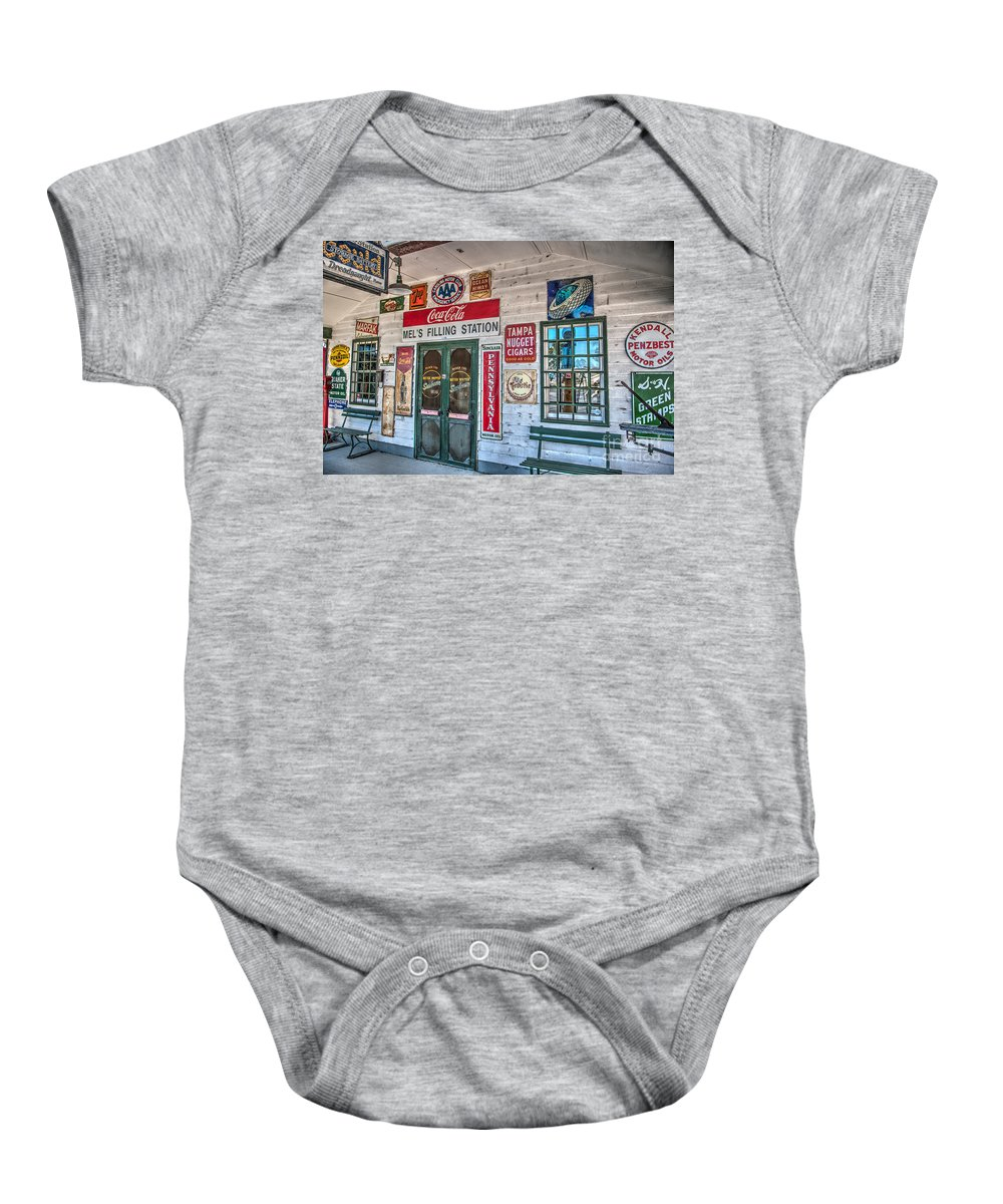 Mel's Filling Station Baby Onesie featuring the photograph Mel's Filling Station by Dale Powell