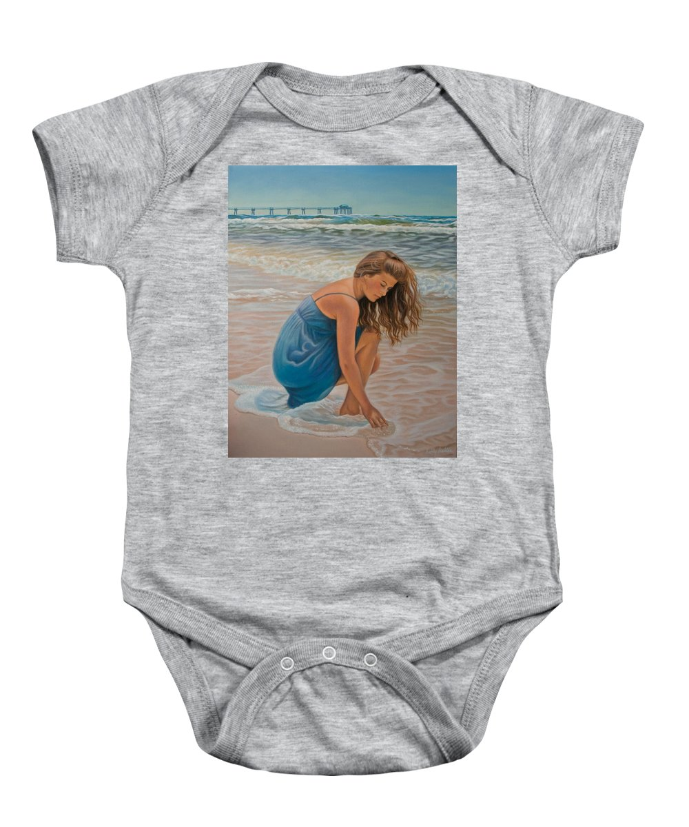 Realism Baby Onesie featuring the painting Memories Of The Sea by Holly Kallie