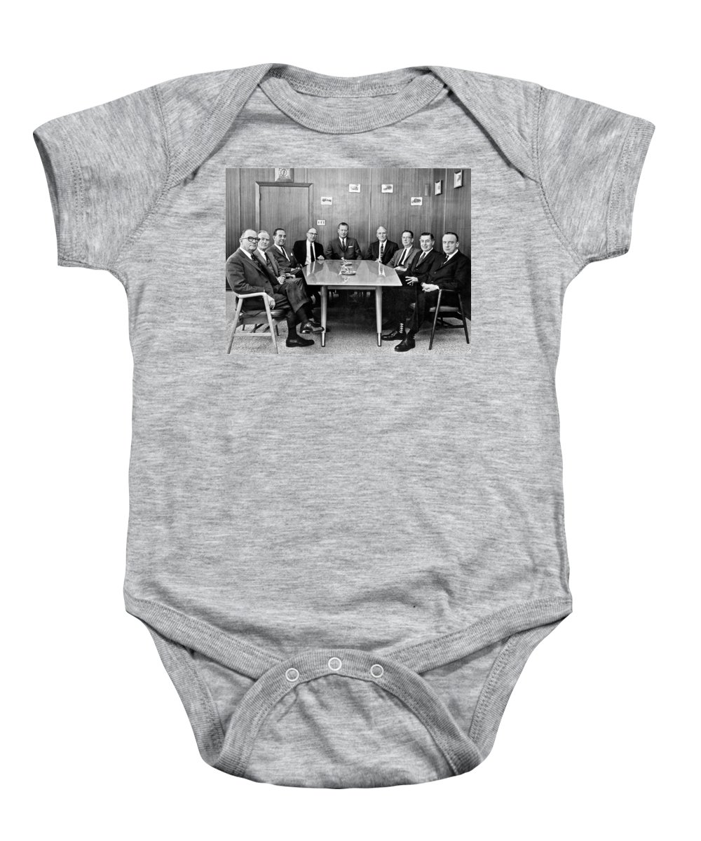 1955 Baby Onesie featuring the photograph Men At A Business Meeting by Underwood Archives