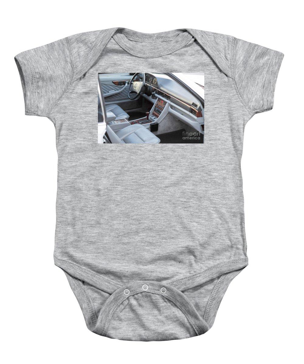 Mercedes Baby Onesie featuring the photograph Mercedes 560 Sec Interior by Gunter Nezhoda