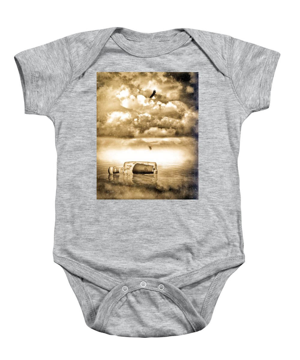 Seascape Baby Onesie featuring the photograph Message In A Bottle by Bob Orsillo