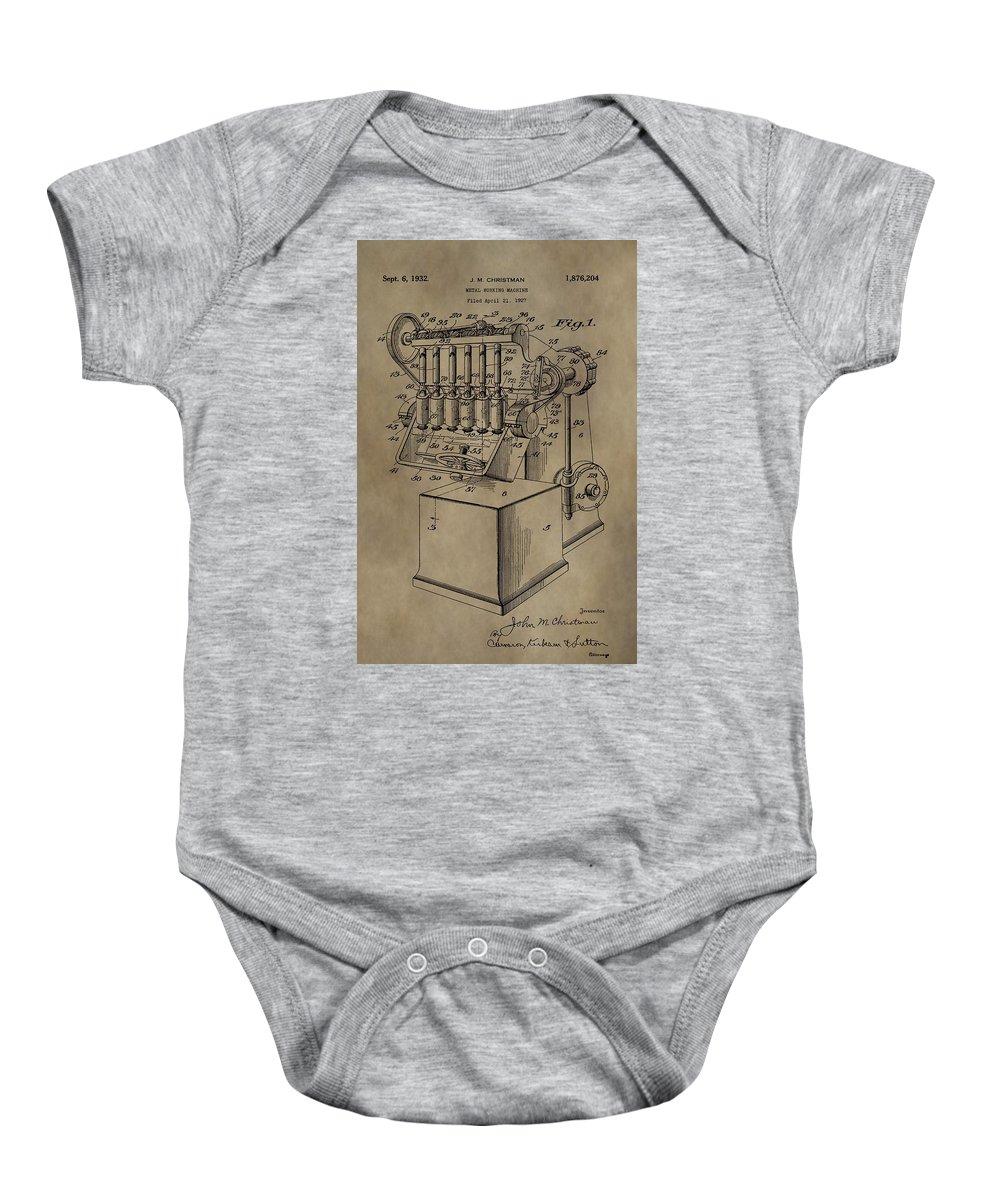 Metal Working Machine Patent Baby Onesie featuring the mixed media Metal Working Machine Patent by Dan Sproul