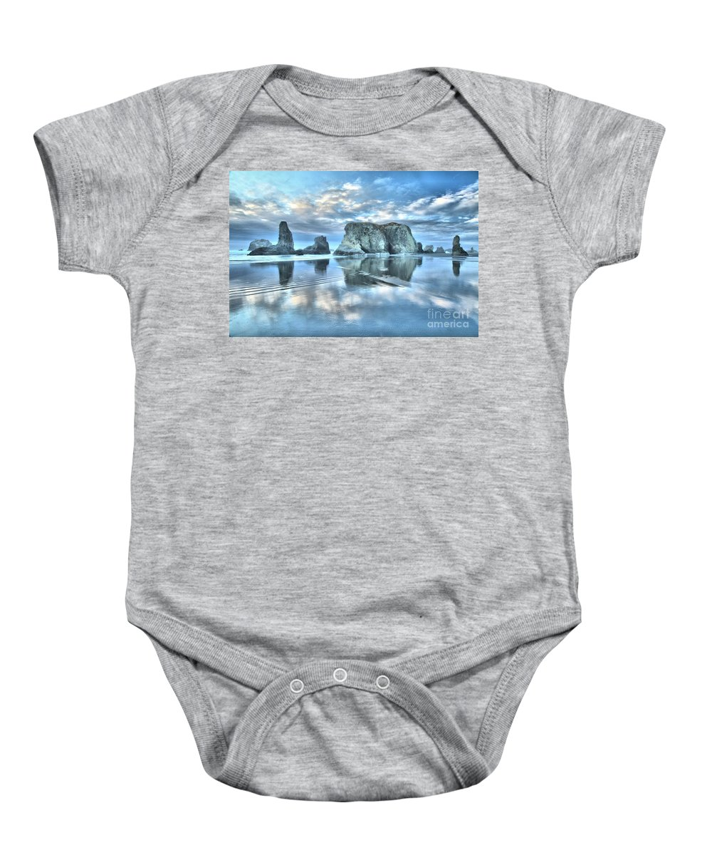 Bandon Beach Baby Onesie featuring the photograph Metallic Cloud Reflections by Adam Jewell