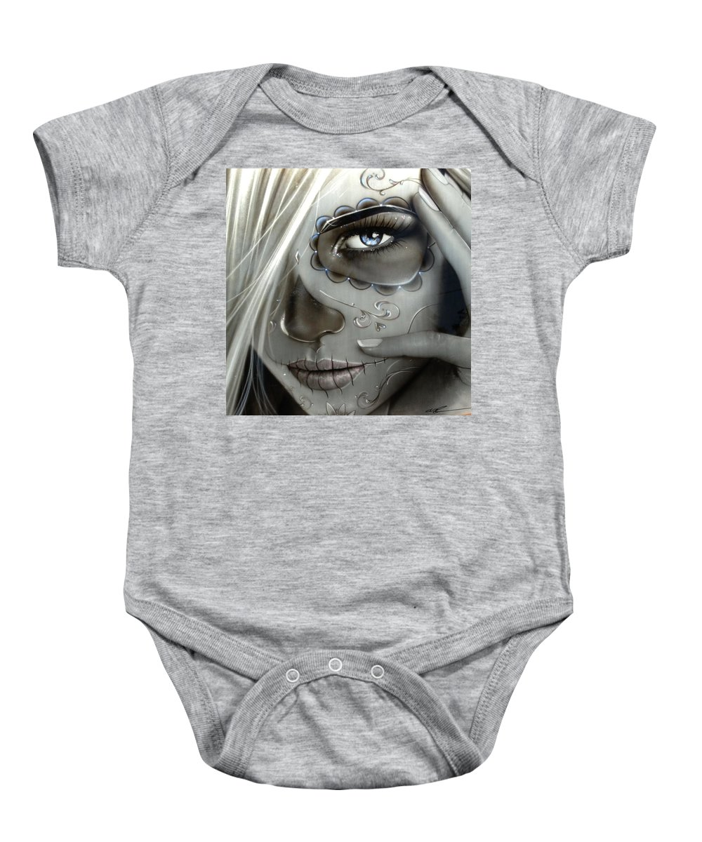 Sugar Skull Baby Onesie featuring the painting Metallic Decay by Christian Chapman Art
