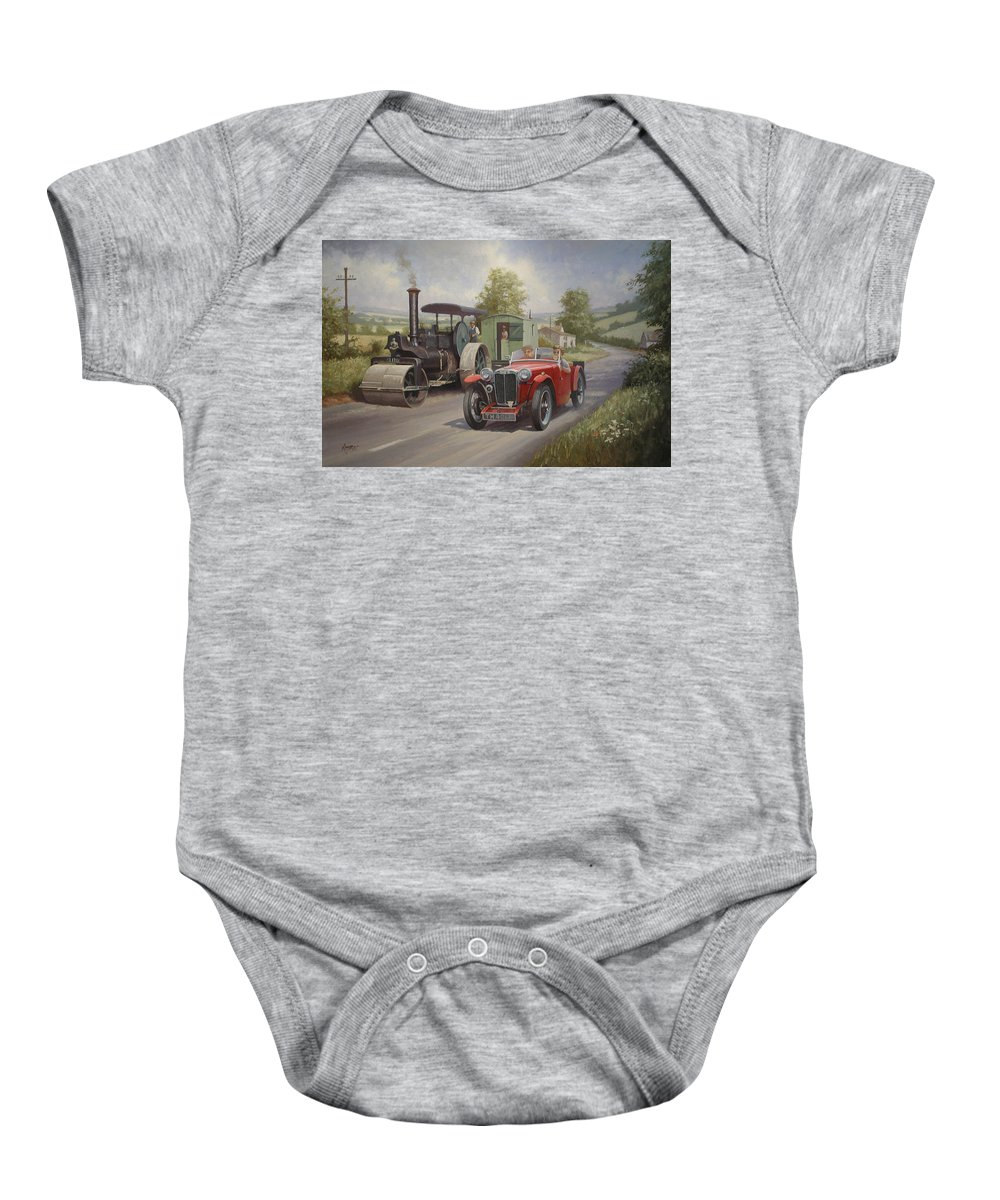 United Kingdom Baby Onesie featuring the painting Mg Sports Car. by Mike Jeffries