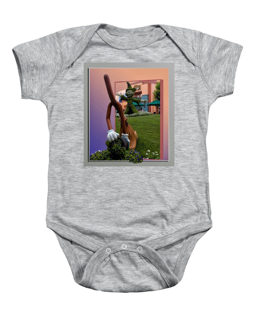 Broom Baby Onesie featuring the photograph Mickey And Broom Floral Walt Disney World Hollywood Studios by Thomas Woolworth