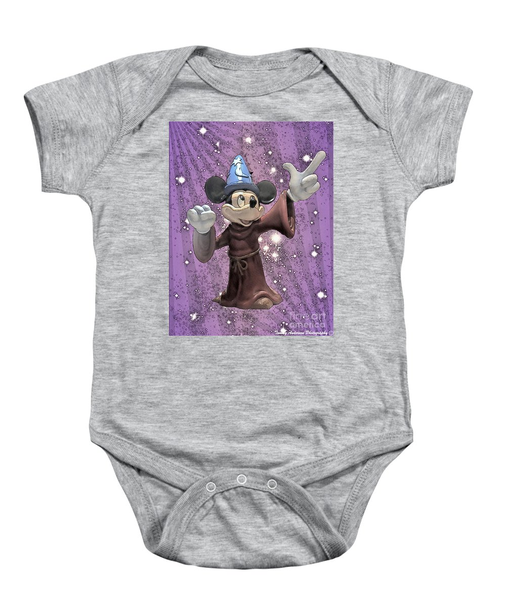 Mickey Mouse Baby Onesie featuring the digital art Mickey And The Stars by Tommy Anderson