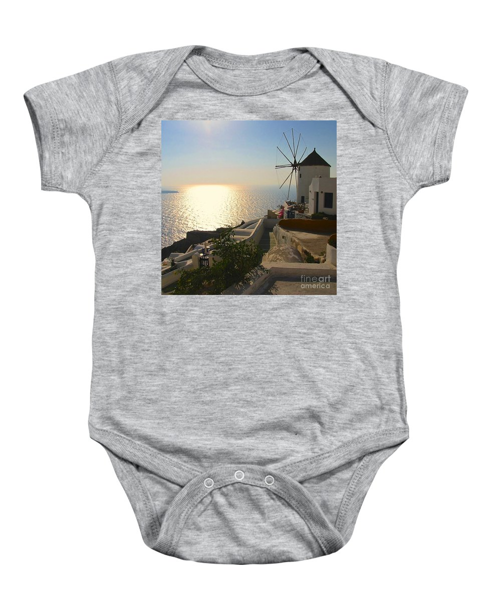 Santorini Greece Baby Onesie featuring the photograph Midday On Santorini by Suzanne Oesterling