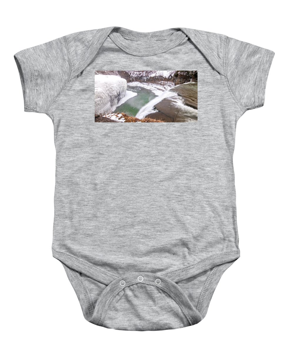 Guy Whiteley Photography Baby Onesie featuring the photograph Middle Falls And Ice Feathers by Guy Whiteley