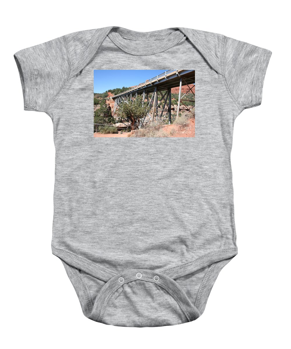 Bridge Baby Onesie featuring the photograph Midgley Bridge And Oak Creek Canyon by Christiane Schulze Art And Photography