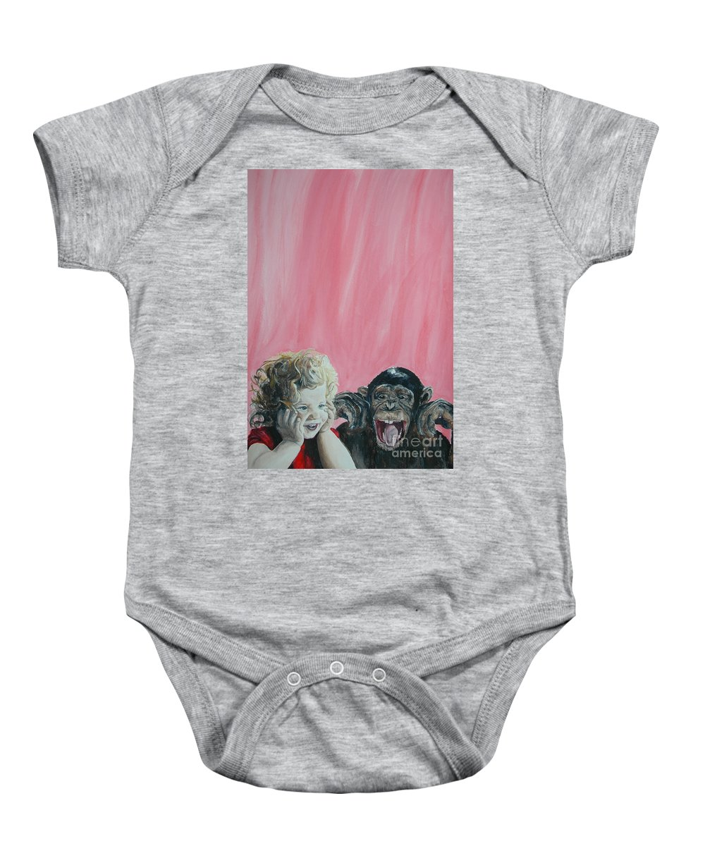 Monkey Baby Onesie featuring the painting Mika And Monkey by Tamir Barkan