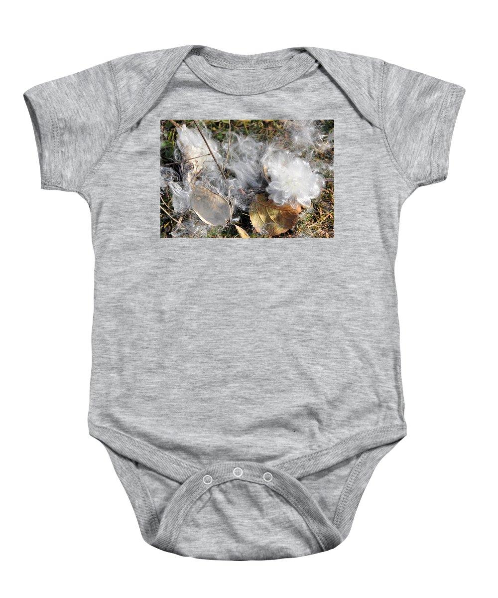 Milkweed Baby Onesie featuring the photograph Milkweed Landing by Valerie Kirkwood