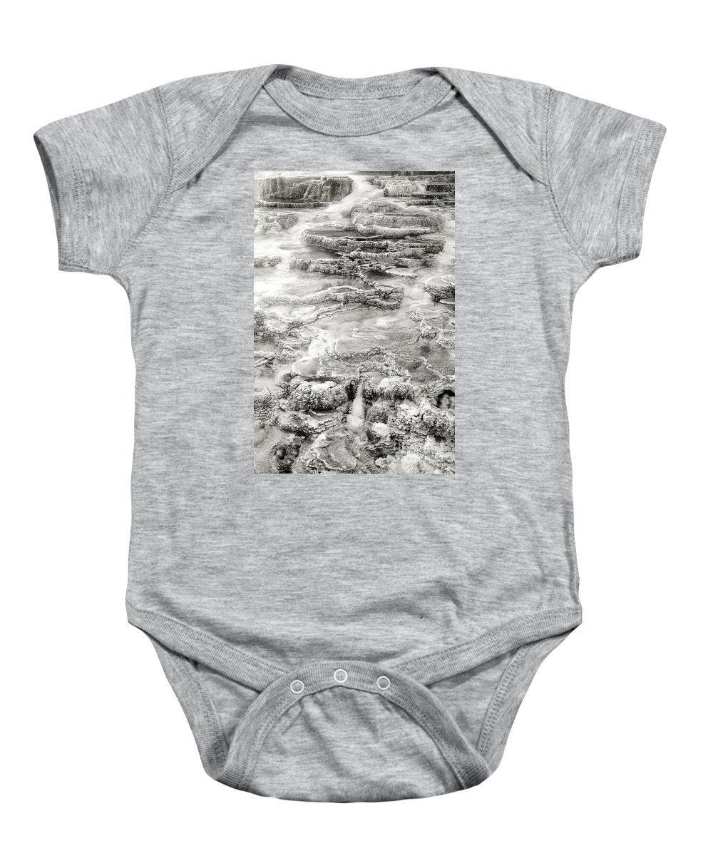 America Baby Onesie featuring the photograph Minerva Springs In Black And White Yellowstone National Park Wyoming by Dave Welling