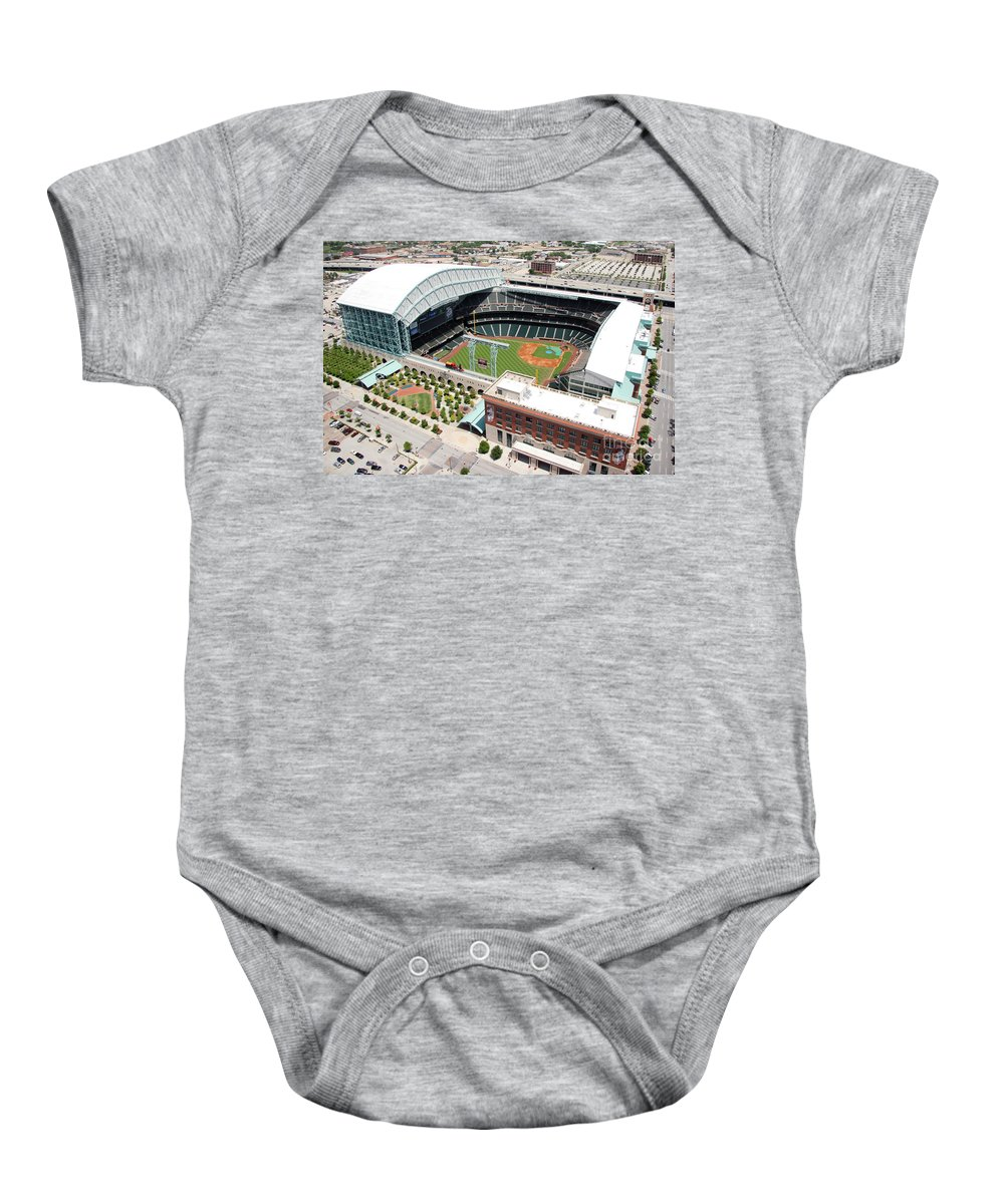 Houston Baby Onesie featuring the photograph Minute Maid Park Houston by Bill Cobb