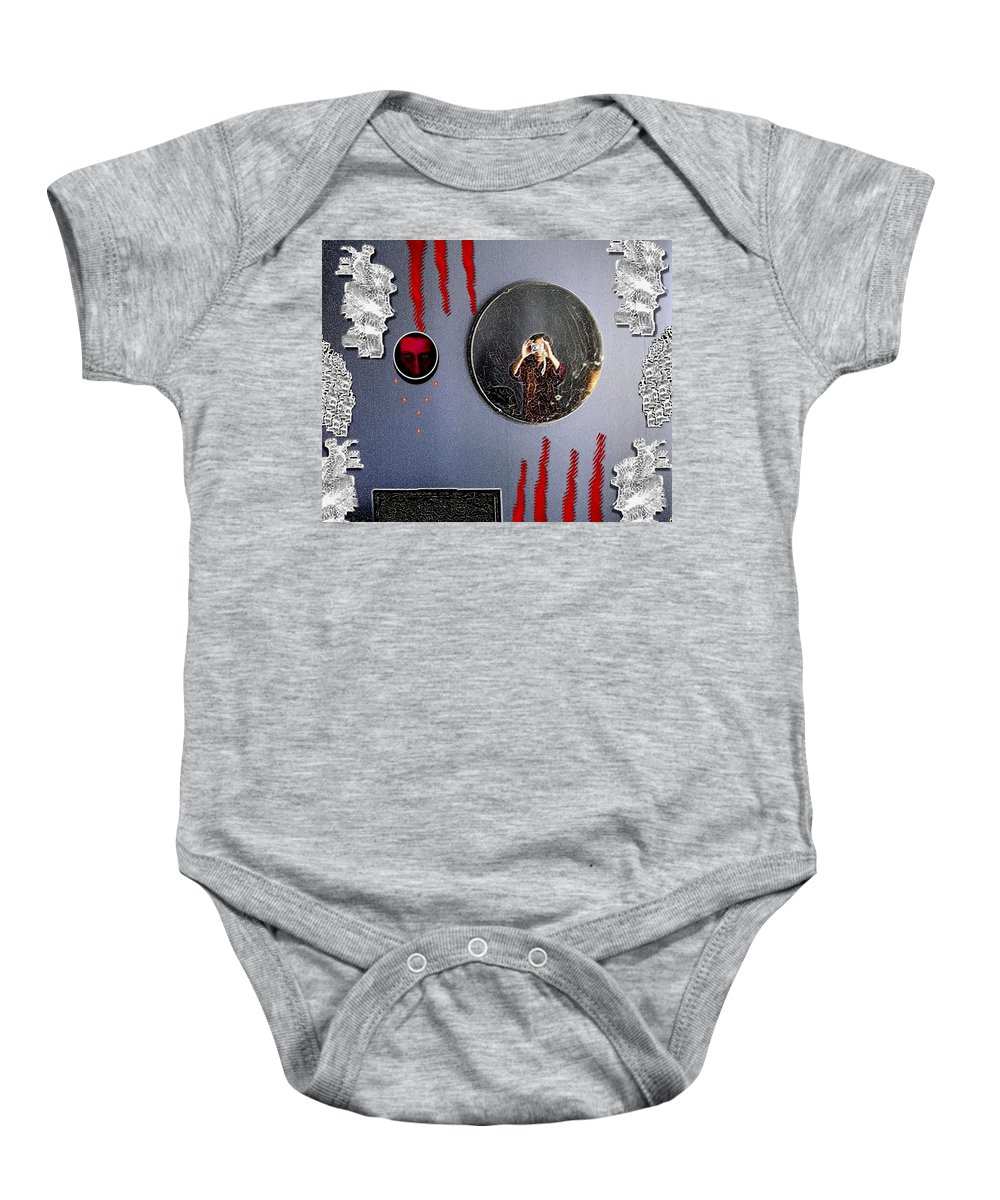 Wings Baby Onesie featuring the mixed media Mirror Mirror by Pepita Selles