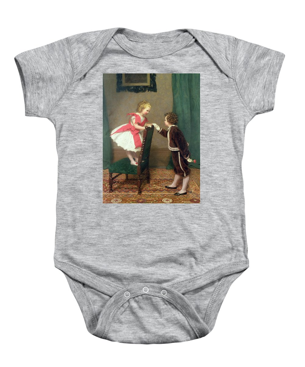 Flirt Baby Onesie featuring the painting Miss Lilys First Flirtation by James Haylar