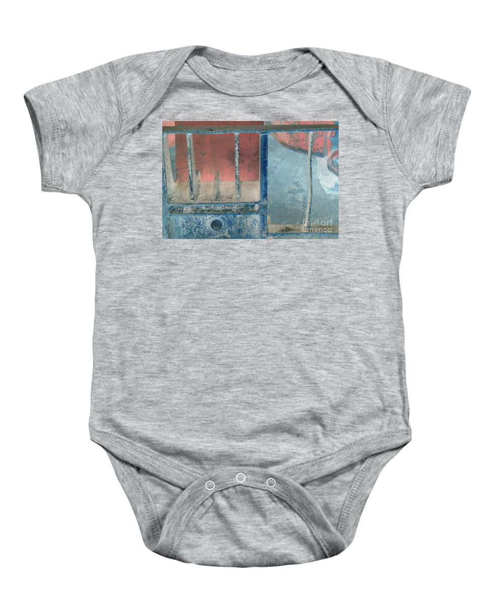 Equipment Baby Onesie featuring the photograph Missing Middle Bar Left Horizontal by Heather Kirk