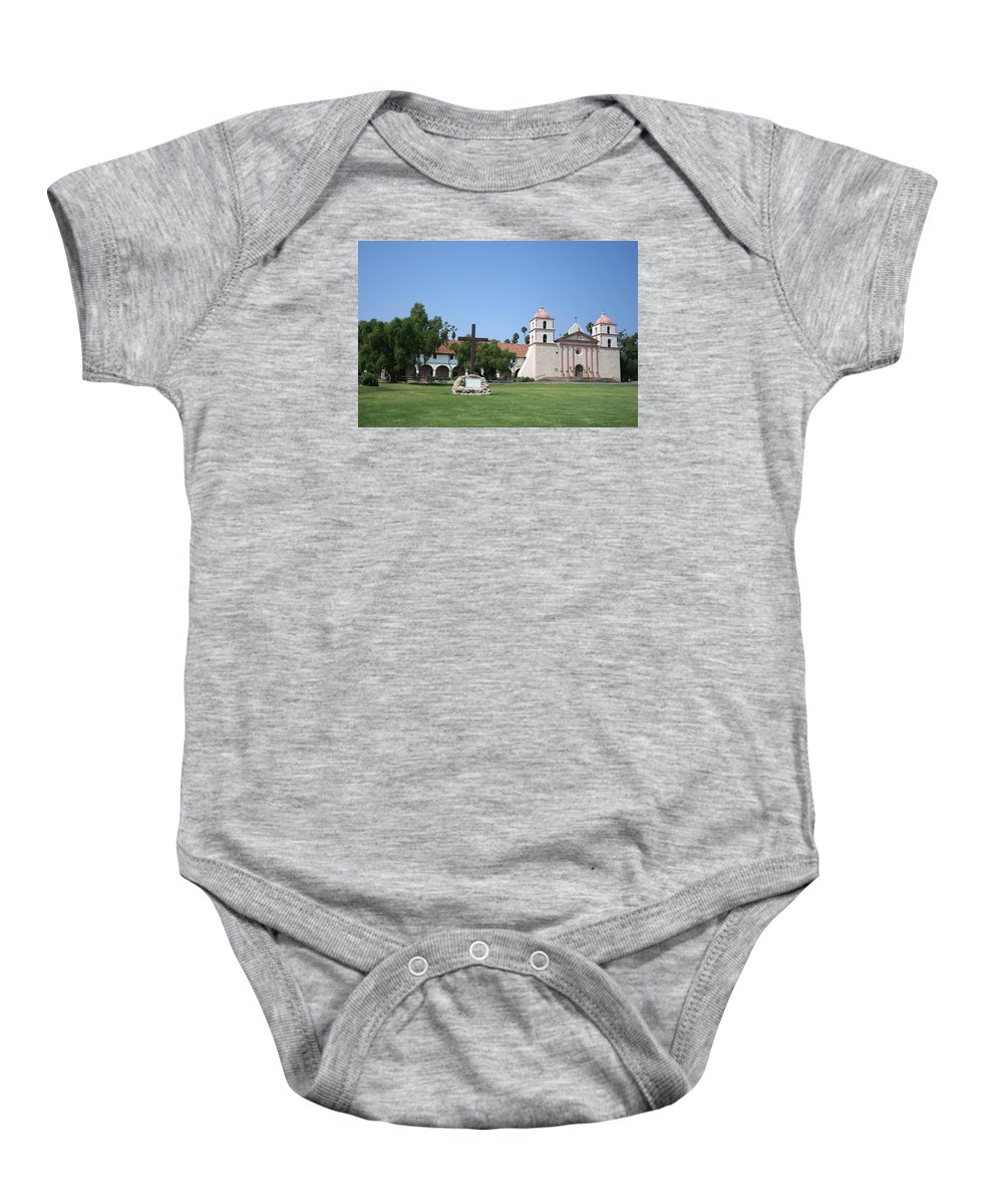 Mission Baby Onesie featuring the photograph Mission Santa Barbara by Christiane Schulze Art And Photography