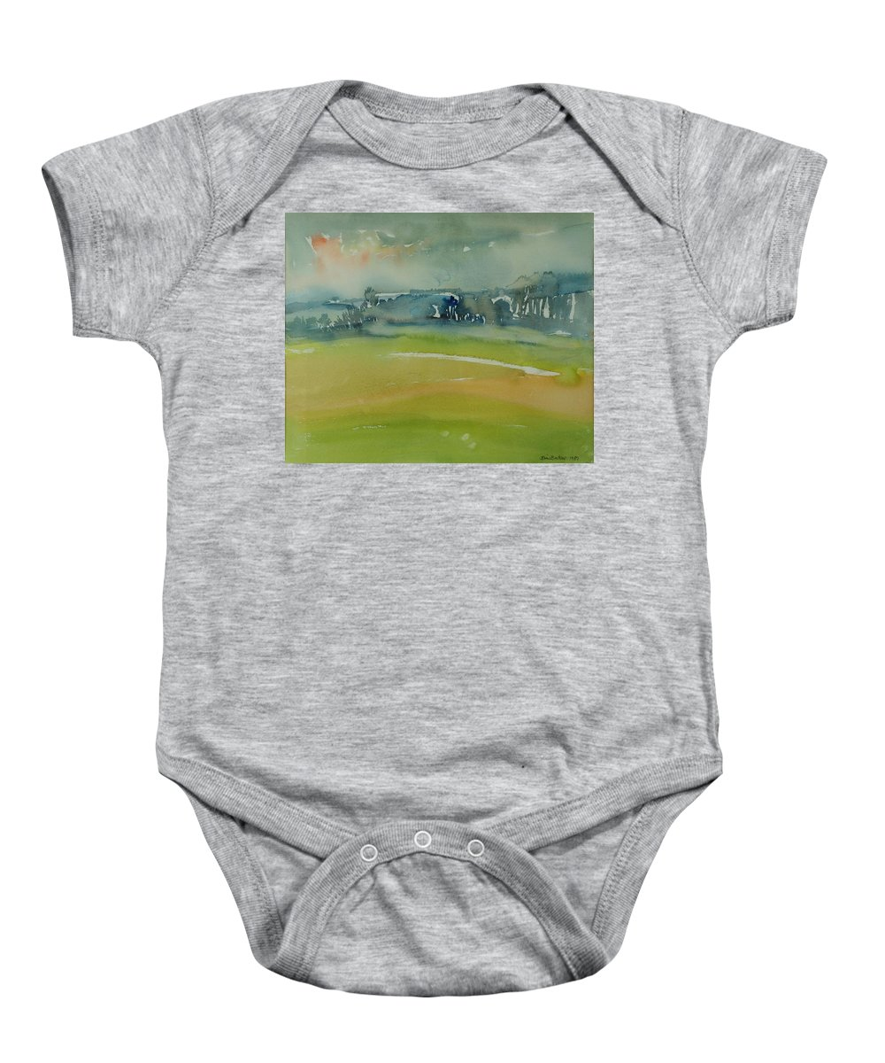 Rural Baby Onesie featuring the photograph Misty Morning, 1981 Wc On Paper by Brenda Brin Booker